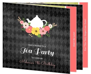 Floral Chalkboard Tea Birthday Party Booklet Invitation