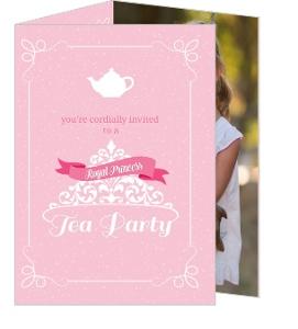 Pink Royal Tea Party Birthday Invitation