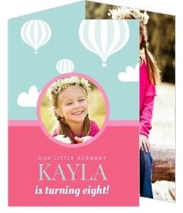 Pink & Blue Balloon Kids Birthday Party Invitation
