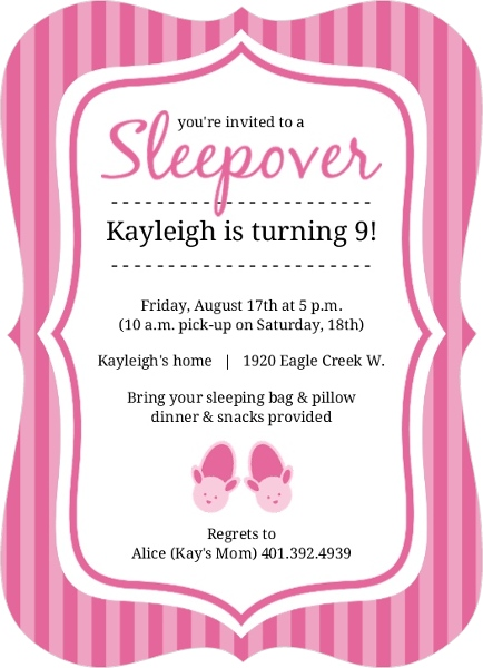 Pretty In Pink Bunny Slippers Slumber Party Invite Invite Shop – Slumber Party Invite