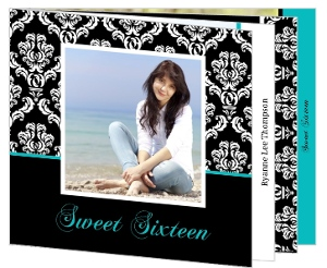 Black Damask Pattern Sweet Sixteen Booklet Invitation