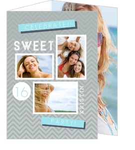 Modern Gray Chevron Sweet Sixteen Invitation