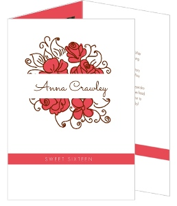 Whimsical Red Roses Sweet Sixteen Invitation