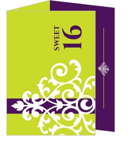 Modern Lime Green Sweet Sixteen Birthday Invitation