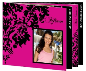 Pink & Black Elegant Damask Quinceanera Booklet Invitation
