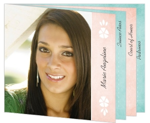 Soft Pink Teal Watercolor Quinceanera Booklet Invitation