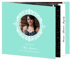 Simple Black & Turquoise Quinceanera Booklet Invitation