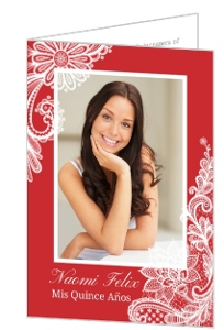 Bright Red & White Lace Quinceanera Birthday Invitation