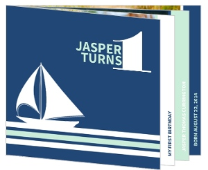 Blue Nautical Boat Frist Birthday Booklet Invitation