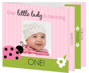 Pink Stripes Ladybug First Birthday Booklet Invitation