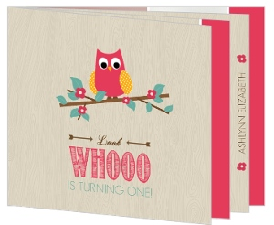 Wood Pattern Pink Owl First Birthday Booklet Invitation