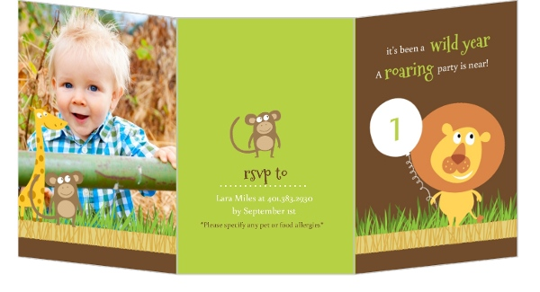 Cute Brown Lion Safari First Birthday Invitation Invite Shop – Safari First Birthday Invitations