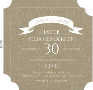 Taupe and Linen Banner Surprise Party Invitation