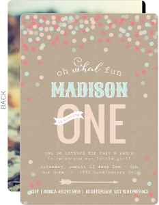 Whimsical Confetti First Birthday Invitation
