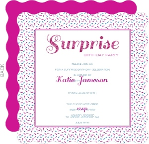 Fuschia Blue and White Surprise Party Invitation