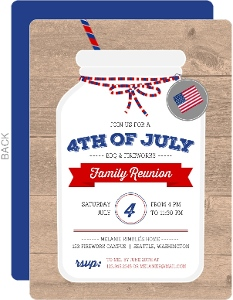 Rustic Mason Jar 4th of July Party Invitation