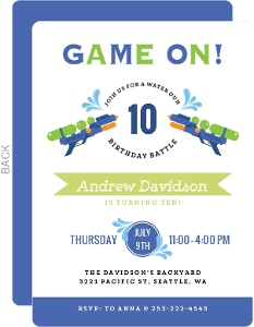 Game On Water Gun Birthday Party Invitation