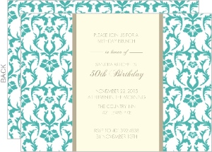 Turquoise and Texture 50th Birthday Invitation