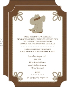 Western Cowboy Boots And Hat BBQ Invite