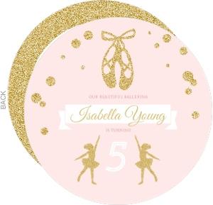 Pink & Faux Gold Glitter Ballerina Birthday Invitation