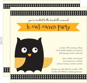 Orange Owl Halloween Invitation