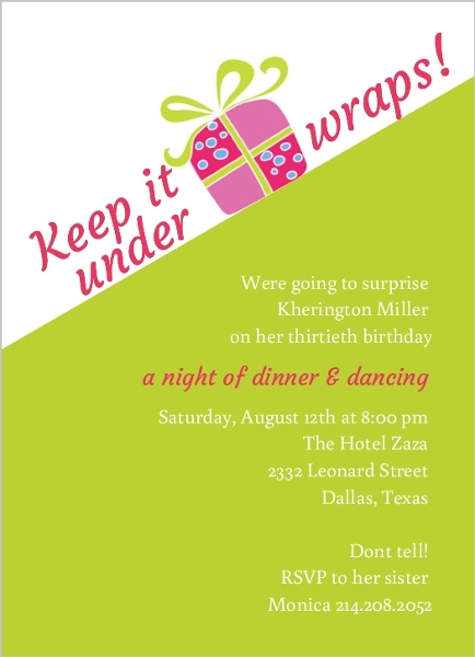 Lime Green and White Surprise Birthday Party Invitation – Suprise Birthday Party Invitations