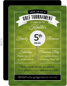Modern Green Golf Tournament Family Reunion Invitation