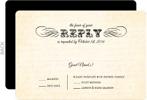 Cream Vintage Monogram Wedding Response Card