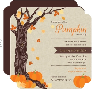 Rustic Autumn Leaves Halloween Baby Shower Invitation