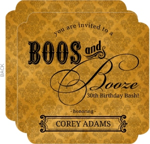 Elegant Booze Orange Damask Halloween Birthday Party Invite