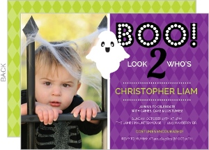 Purple Spooky Ghost Halloween Birthday Party Invitation