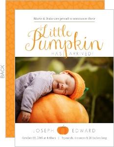 Orange Little Pumpkin Arrival Halloween Birth Announcement