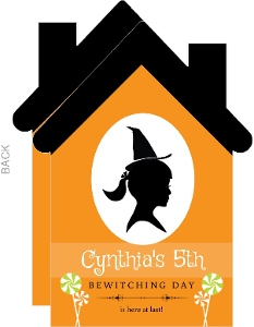 Orange Halloween Silhouette Birthday Invitation