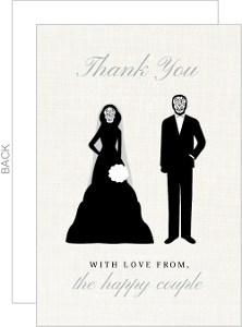 Skeleton Couple Cream Halloween Thank You Card