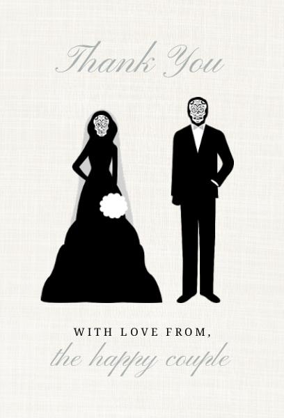 Skeleton Couple Cream Halloween Thank You Card | Wedding Thank You ...