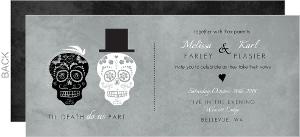 Gray Dressed Up Skulls Halloween Wedding Invitation