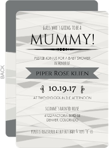 Funny White and Gray Mummy Baby Shower Invitation