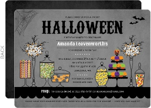 halloween themed candy table birthday party invitation - Halloween Themed Birthday Party
