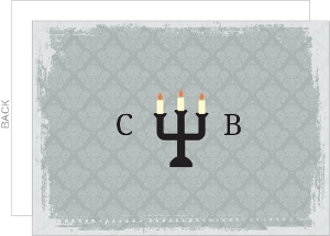 Candles With Gray Damask Halloween Thank You Card