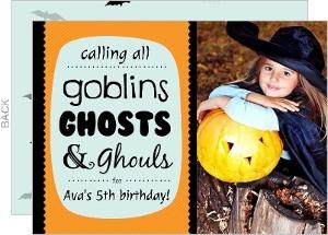 Orange Blue and Black Bats Halloween Birthday Invitation