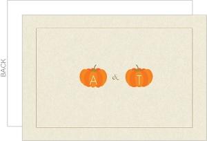 Pumpkin Monograms Halloween Wedding Thank You Card