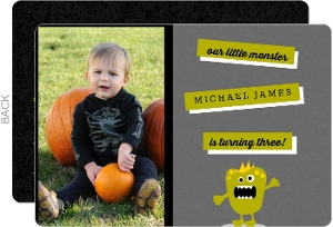 Charcoal Chartreuse Little Monster Halloween Birthday Invitation