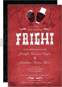 Blood Red Damask Skulls Halloween Wedding Invitation