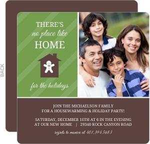 Green Stripes Holiday Housewarming Invitation