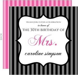 Black and Gray Stripes with Pink 30th Birthday Party Invitation