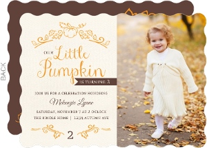 Crafted Pumpkin Halloween Birthday Party Invitation