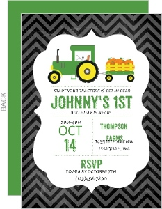 Pumpkin Farmer Birthday Party Invitation