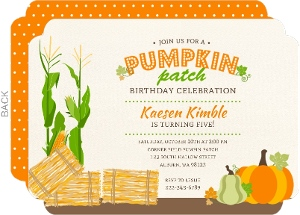 cheap pumpkin birthday invitations  invite shop, Birthday invitations