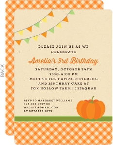 Pumpkin Gingham Birthday Invitation