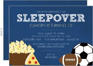 Boys Night Sports and Snacks Sleepover Party Invite